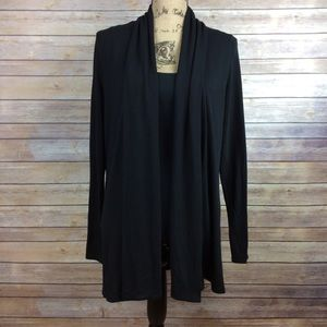 Ann Taylor Medium Solid Black Open Front Cardigan